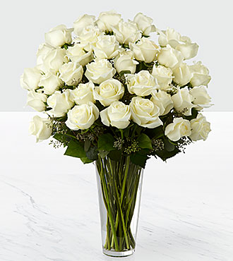 The White Rose Bouquet - 36 Stems - VASE INCLUDED