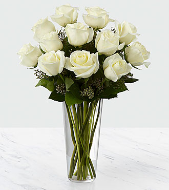The White Rose Bouquet - VASE INCLUDED